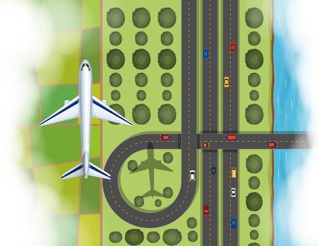 土地の上を飛んでいる飛行機の空中シーン 無料ベクター