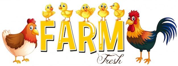 Дизайн шрифта для словесной фермы с цыплятами Бесплатные векторы