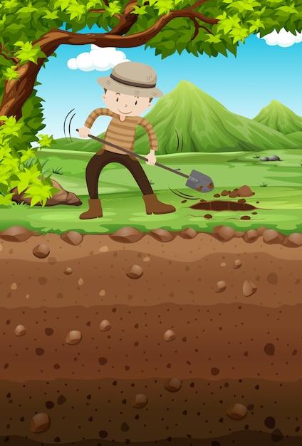 公園の穴を掘る人 無料ベクター