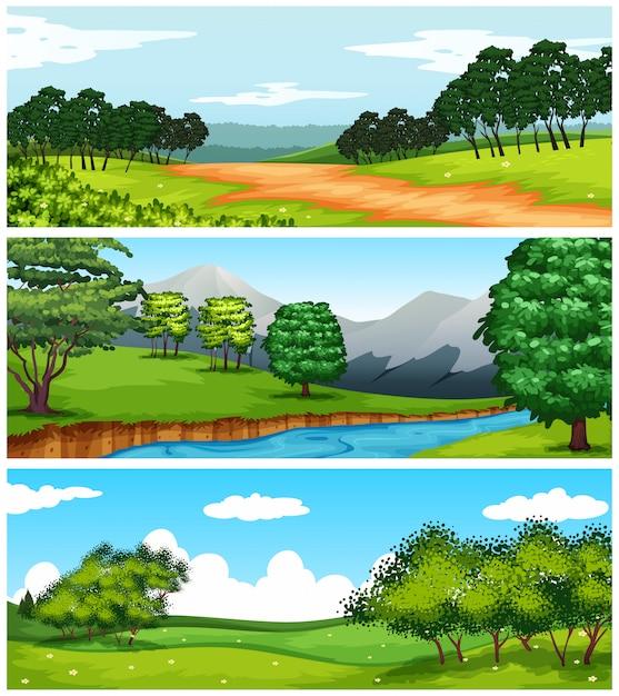Три природные сцены с полями и деревьями Бесплатные векторы
