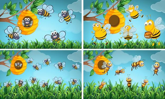 蜂と蜂の巣のシーン 無料ベクター