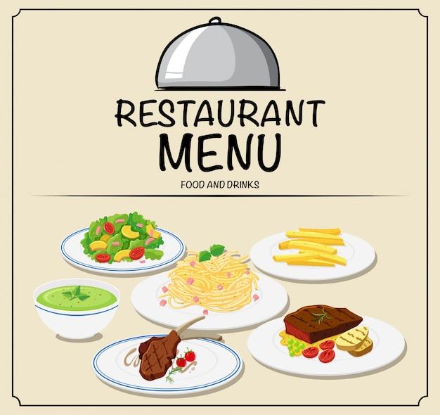 さまざまな料理のレストランメニュー 無料ベクター