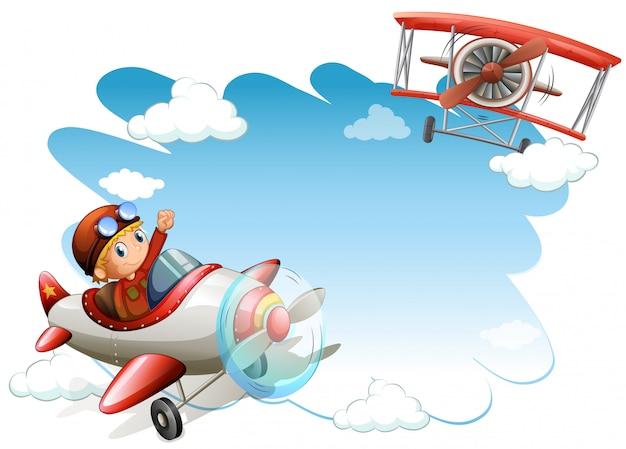 Рамка летающих самолетов Бесплатные векторы
