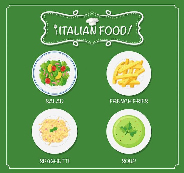 イタリアのメニューのさまざまな料理 無料ベクター