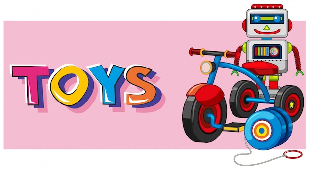 ロボットと三輪車のバックグラウンドでの単語のおもちゃ 無料ベクター