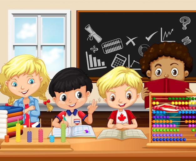 子供たちが教室で勉強する Premiumベクター