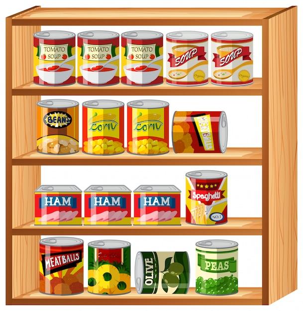 木製の棚の上の多くの缶詰食品 無料ベクター