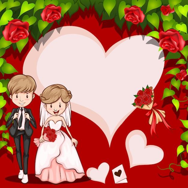 結婚式の漫画フレーム 無料ベクター