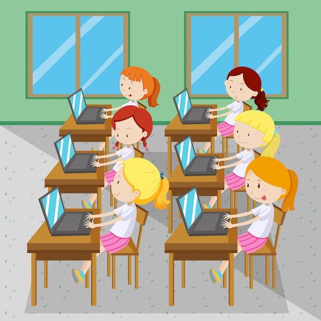 Шесть девушек печатать на компьютерах Бесплатные векторы