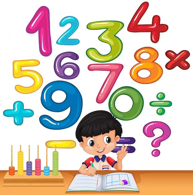 机の上の数字を数える少年 無料ベクター