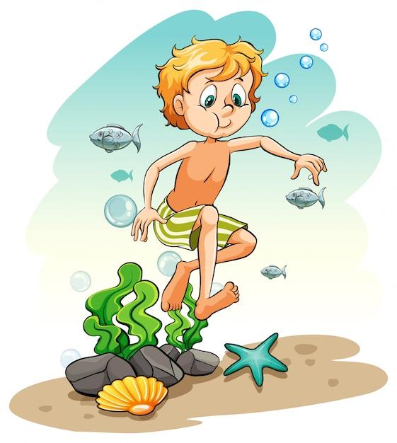海の下の少年 無料ベクター