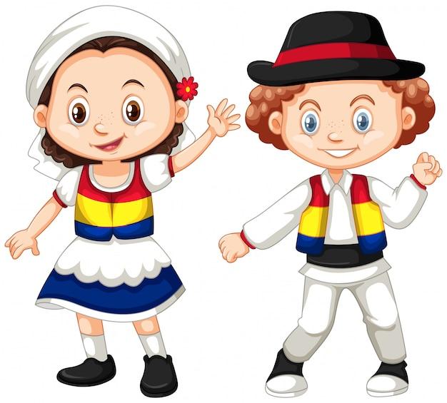 ルーマニアの子供たちの伝統的な衣装 無料ベクター