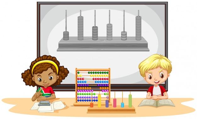 教室で数学を学ぶ学生 無料ベクター
