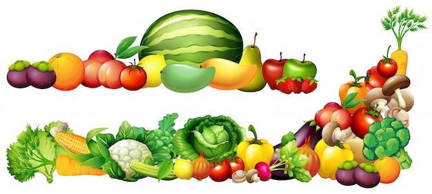 Куча свежих овощей и фруктов Бесплатные векторы