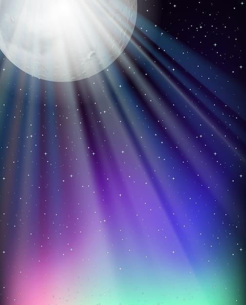 満月と星の背景 無料ベクター