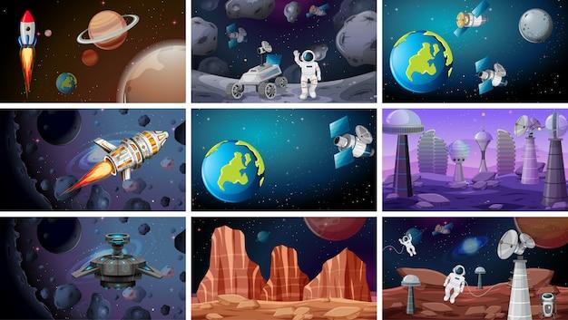宇宙のシーンの背景 無料ベクター
