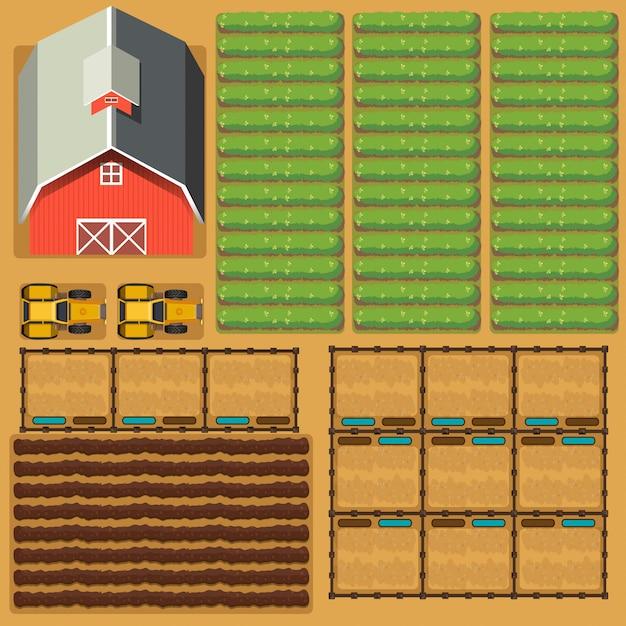 納屋と作物の農地の空中シーン 無料ベクター