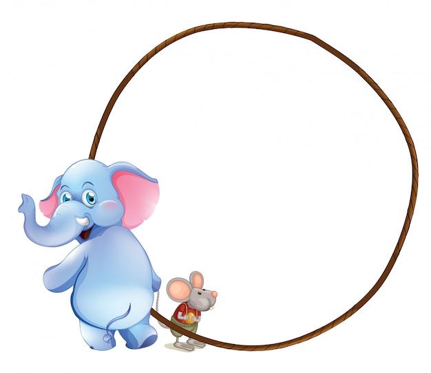 象とマウスの丸い空のテンプレート Premiumベクター
