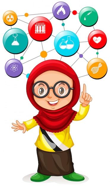 Девушка с иконами науки на голове Premium векторы