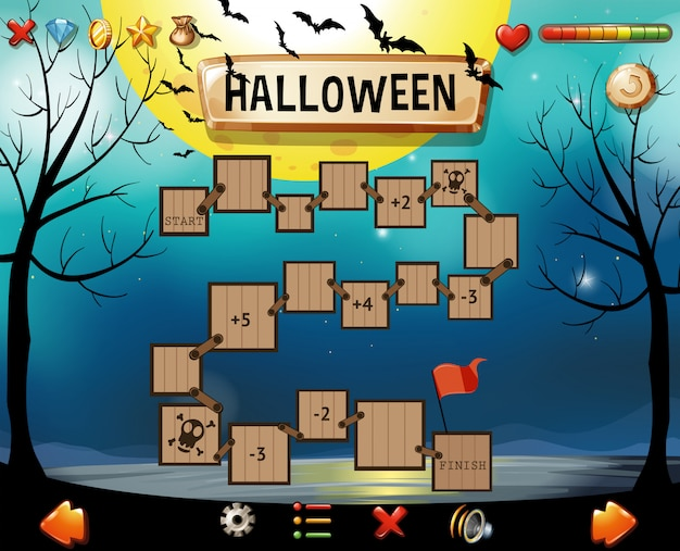 ハロウィーンをテーマにしたゲームのテンプレート 無料ベクター