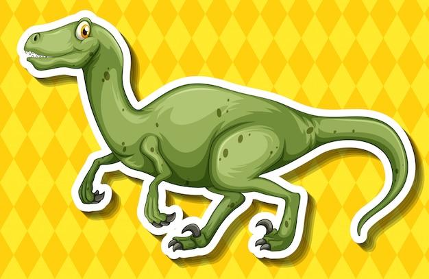 Зеленый динозавр на желтом фоне Premium векторы
