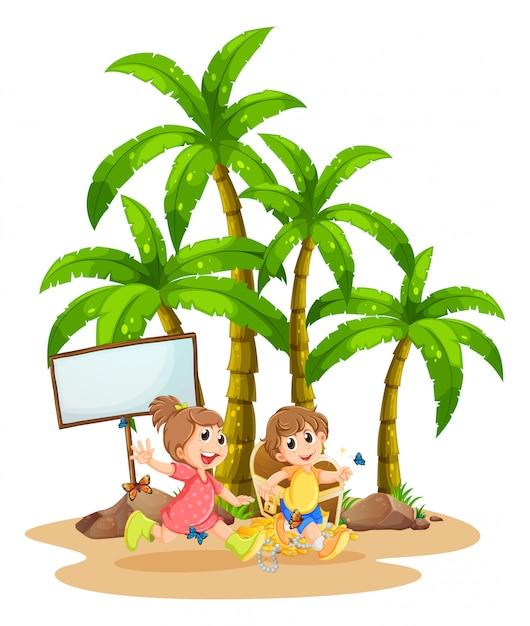 Двое детей играют возле пустой вывески Бесплатные векторы