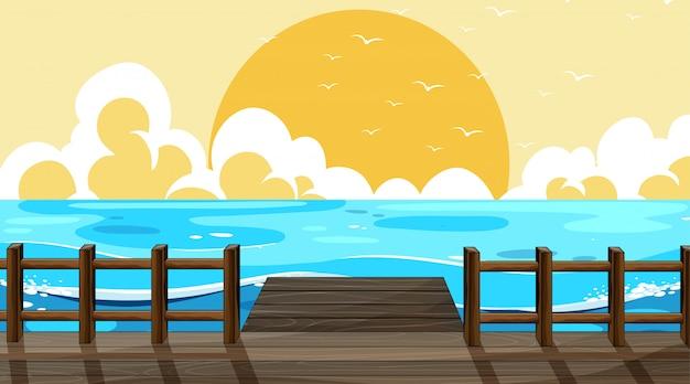 美しいビーチの背景シーン 無料ベクター