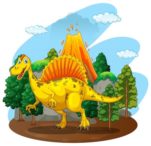 森の中に住んでいる恐竜 無料ベクター