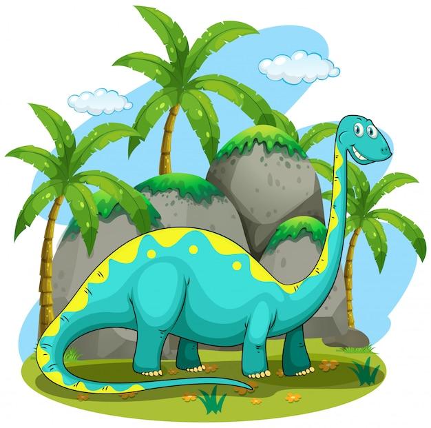ロングネック恐竜のフィールドに立っています。 無料ベクター