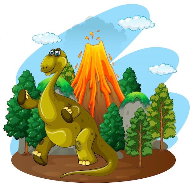 Извержение динозавра и вулкана Бесплатные векторы