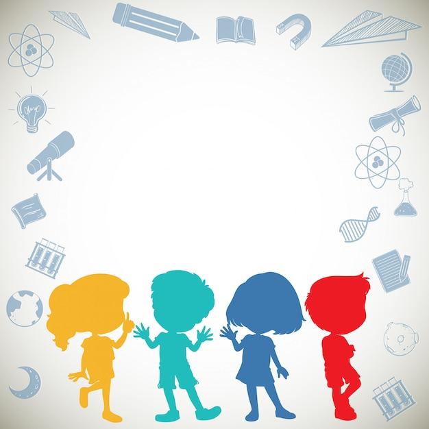 シルエットの子供たちとフレーム Premiumベクター