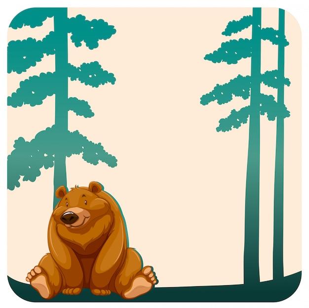 Медведь и деревья Бесплатные векторы
