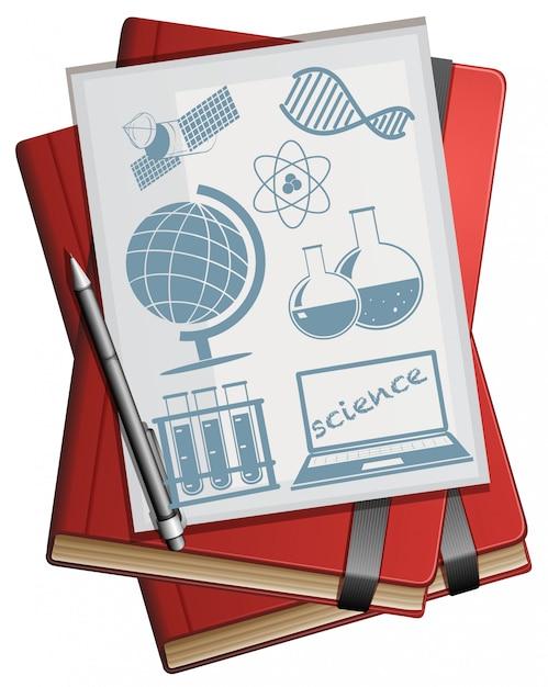 本と紙と科学のシンボル 無料ベクター