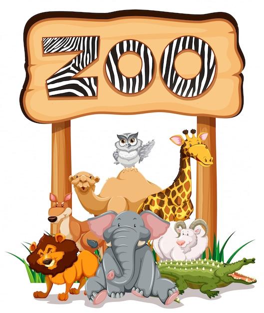 動物園の看板の下の野生動物 無料ベクター