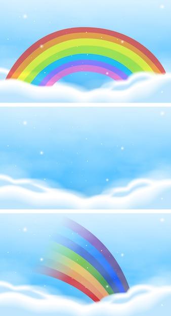 Небесная сцена с красивой радугой Бесплатные векторы