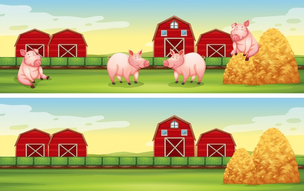 農場で豚とシーンの背景 無料ベクター