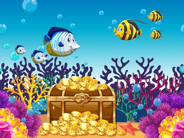 Сцена с сокровищами и рыбой под водой Бесплатные векторы