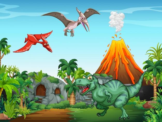 Много динозавров в поле Бесплатные векторы