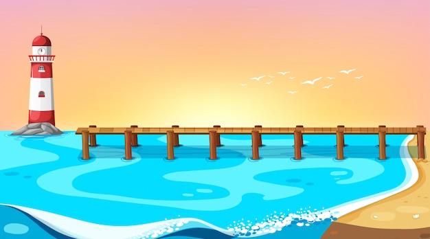 ピアバックグラウンドとビーチのシーン 無料ベクター