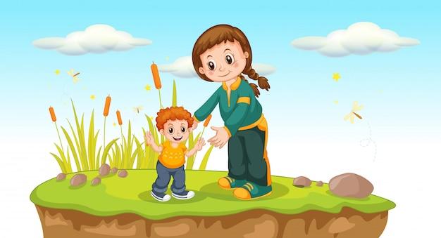 母と息子の外の景色 無料ベクター