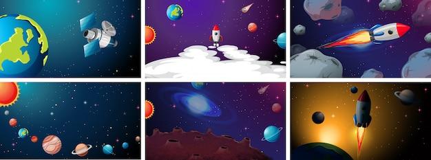 惑星と船のシーンの背景のセット 無料ベクター