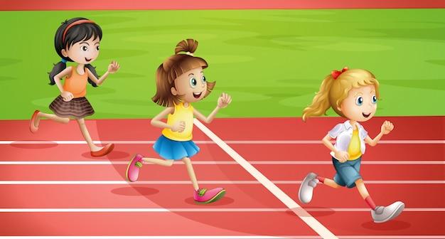 Трое детей бегают трусцой Бесплатные векторы