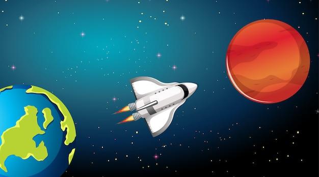 ロケット船と惑星のシーン 無料ベクター