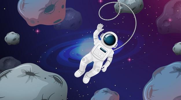 小惑星のシーンで宇宙飛行士 無料ベクター