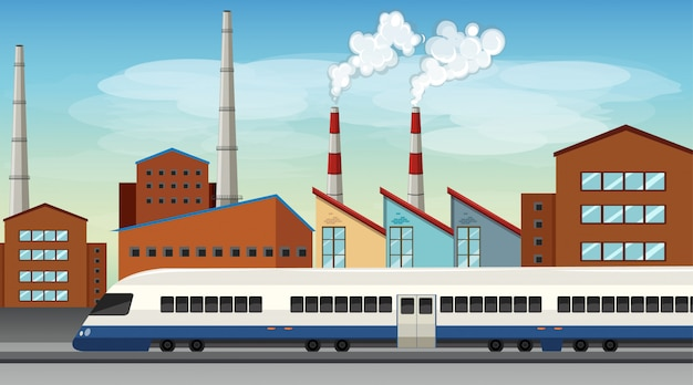 自然の中の工場テーマシーンからの汚染 無料ベクター