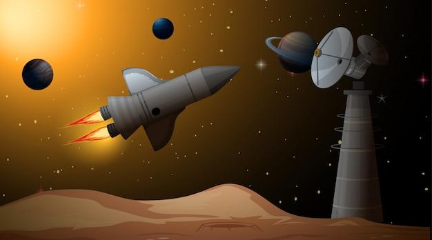 宇宙シーンでのロケット 無料ベクター