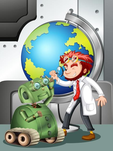 ロボットと地球の気違いの科学者 無料ベクター