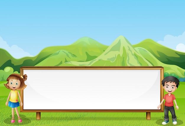 山の近くの大きな空の看板 無料ベクター