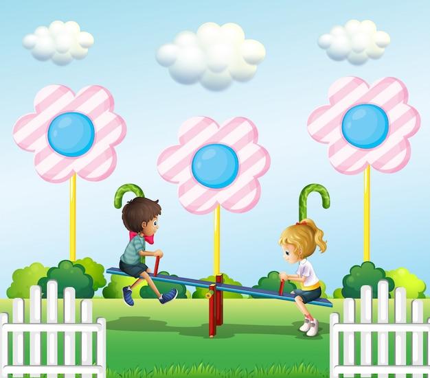 公園でシーソーを遊んでいる子供たち 無料ベクター