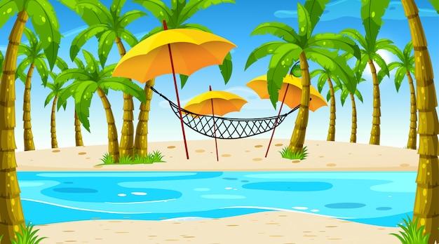 ハンモックとビーチのシーン 無料ベクター